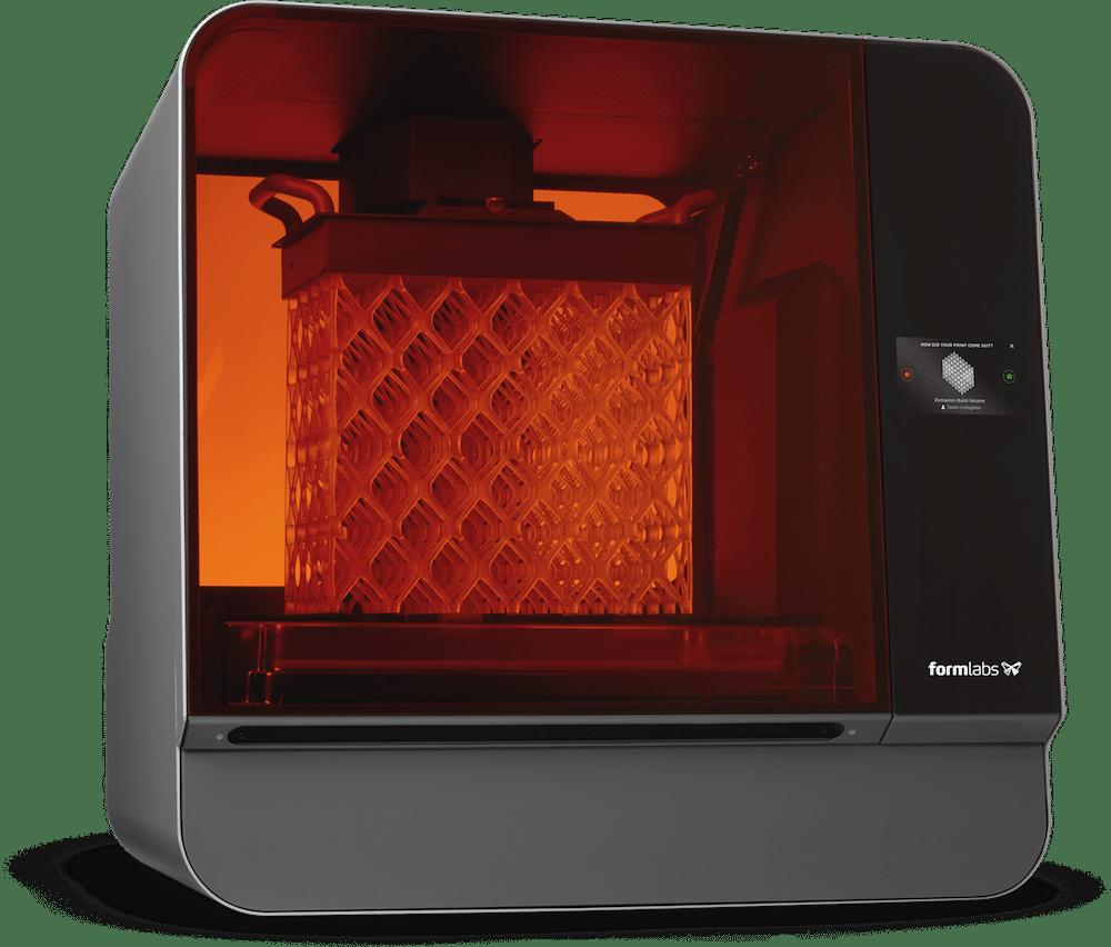 Formlabs Form L, een voorbeeld van een SLA 3D printer waarmee gedetailleerde 3D prints gemaakt kunnen worden.